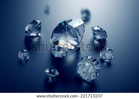3d assorted diamonds, sparkling brilliants, clear jewels on dark background - stock photo