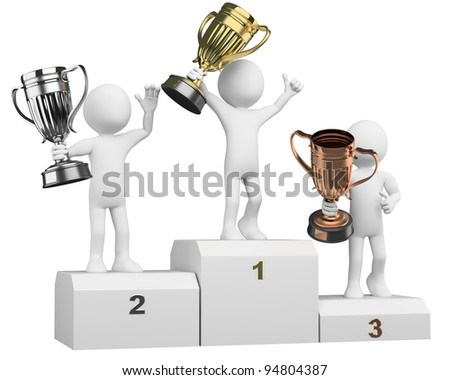 3D athletes on the podium of winners. Rendered at high resolution on a white background with diffuse shadows. - stock photo