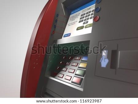 3d ATM machine - stock photo