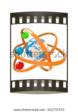 3d atom isolated on white background. Global concept. The film strip - stock photo