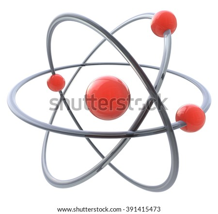 3d atom symbol in the design of information related to science - stock photo