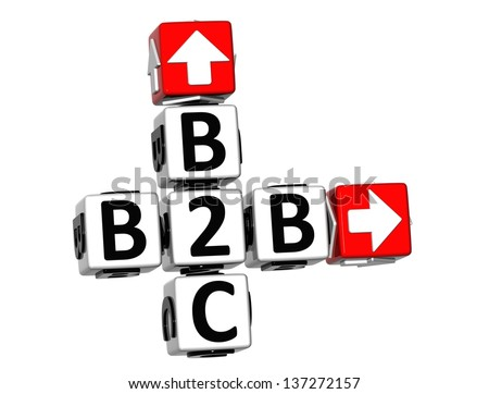 3D B2B B2C Crossword on white background - stock photo
