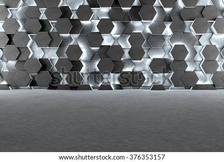 3D background with gray floor and illuminating concrete hexagons on wall - stock photo