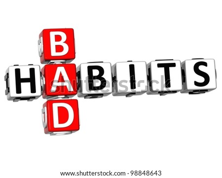 3D Bad Habits Crossword text on white background - stock photo