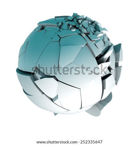 3d ball broken into pieces isolated over white. - stock photo