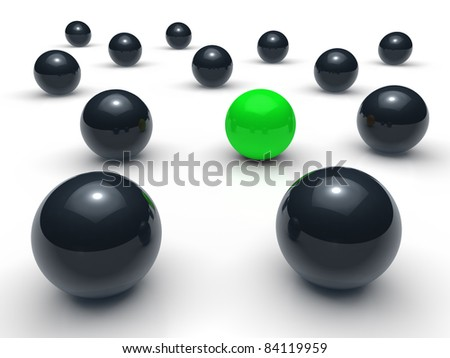 3d ball network green black sphere team - stock photo