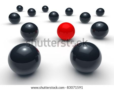 3d ball network red black sphere team - stock photo