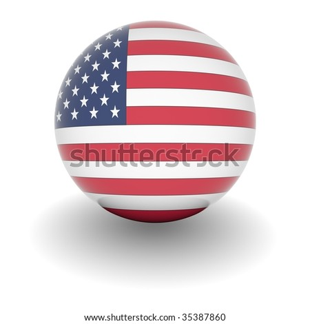 3D Ball with Flag of the USA. High resolution 3d render isolated on white. - stock photo
