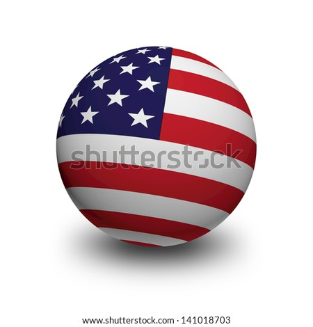3D Ball with Flag of United States of America - stock photo