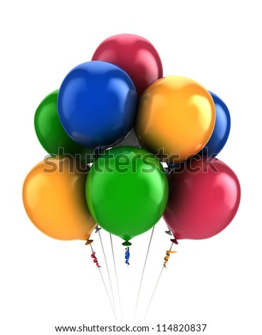 3D Balloons- multi colored-isolated - stock photo