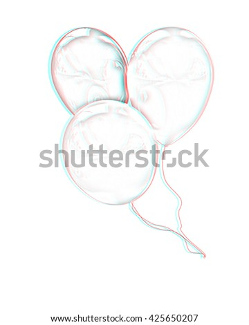 3d balloons on a white background. Pencil drawing. 3D illustration. Anaglyph. View with red/cyan glasses to see in 3D. - stock photo