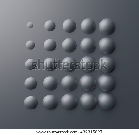 3D balls abstract composition on a gray background - stock photo