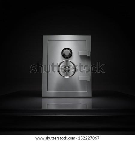 3d Bank safe on dark background, illustration. - stock photo