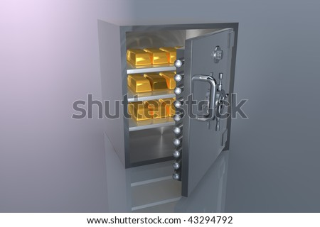 3D bank safe with gold bar - stock photo