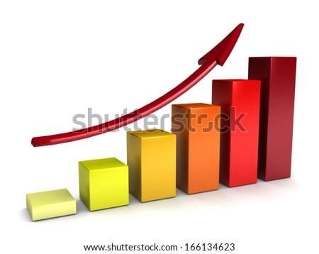 3D Bar Chart and chart growth biznesa.Grafichesky design - stock photo