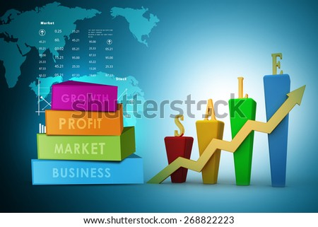 3D Bar chart and sales growth - stock photo