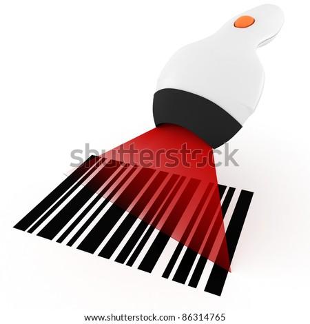 3d bar code scanner, on white background - stock photo