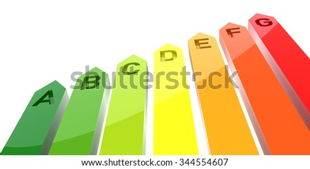 3D Bar Graph, Energy Efficiency Concept, Isolated on White Background - stock photo