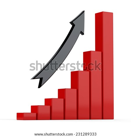 3d bar graph with metallic red columns and black arrow. - stock photo