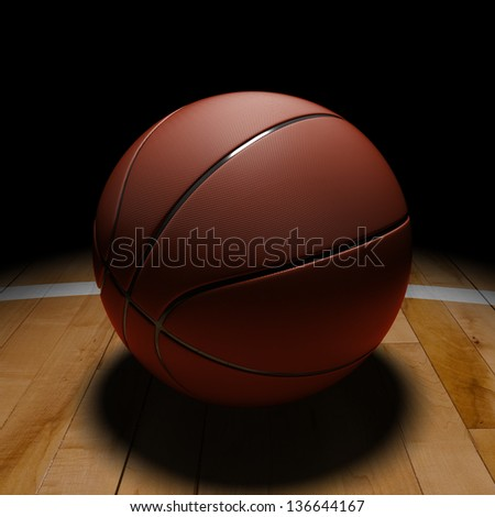 3D basket ball with dramatic light on basketball court. - stock photo