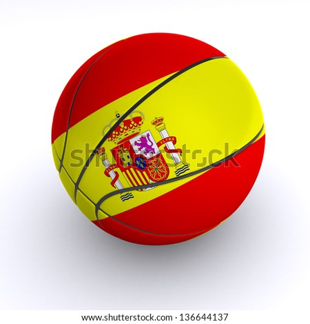 3D basket ball with Spain flag on white. - stock photo