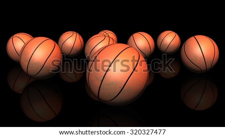 3D. Basketball, Group of Objects, Standing Out From The Crowd  - stock photo