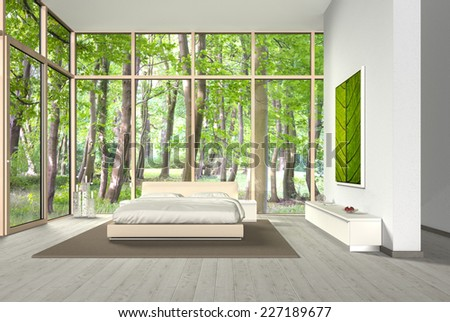 3D bedroom rendering with a beautiful view into the forest - stock photo