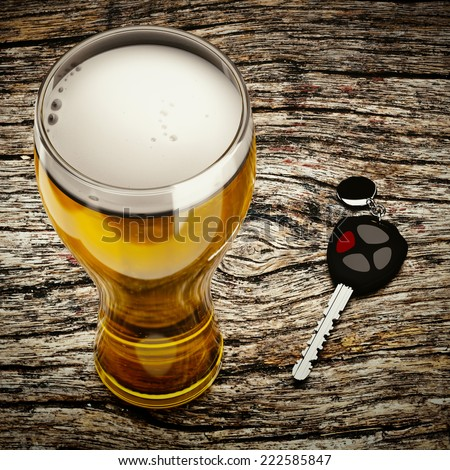 3d beer and car keys on the table background. - stock photo