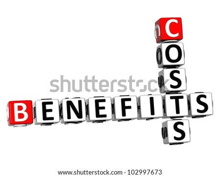 3D Benefits Costs Crossword on white background - stock photo