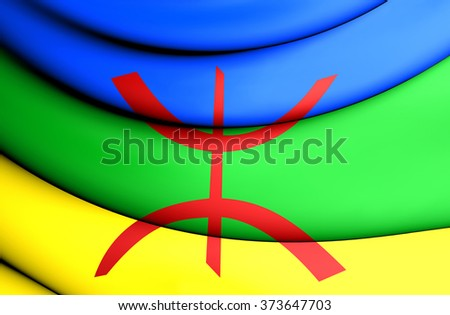 3D Berber Flag. Close Up. Front View. - stock photo