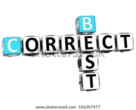 3D Best Correct Crossword on white background - stock photo