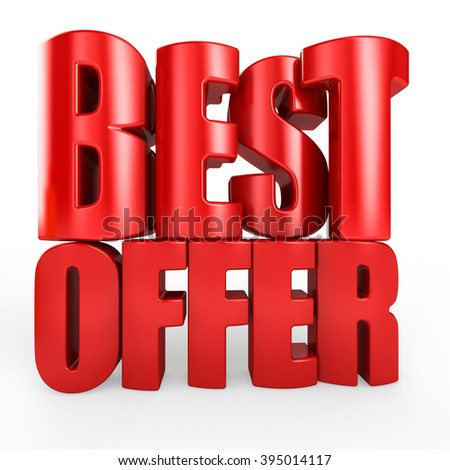 3D best offer word on white isolated background - stock photo