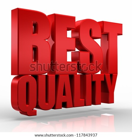 3D best quality word on white isolated background - stock photo