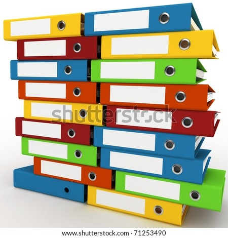 3d binders stacked with blank labels isolated on white - stock photo
