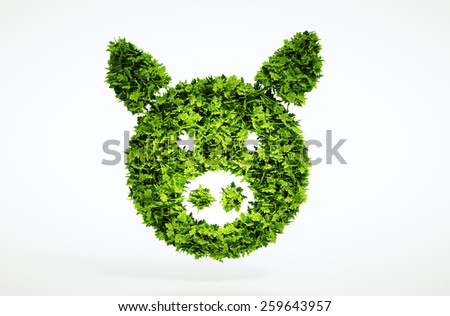 3d bio pork sign. One of larger set of high quality ecology symbols. Check my ecology set. - stock photo