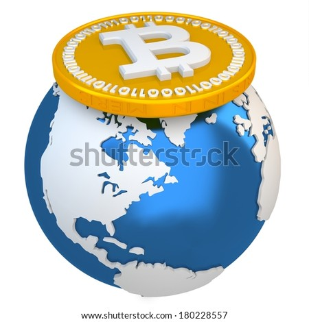 3d bitcoin with earth globe, global currency  on white background - stock photo