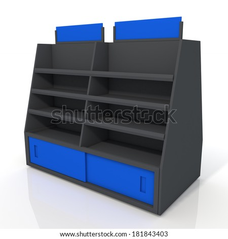 3d black and blue store shelves and brand sign new design for products showing in minimart or department store isolated background with work paths, clipping paths included  - stock photo