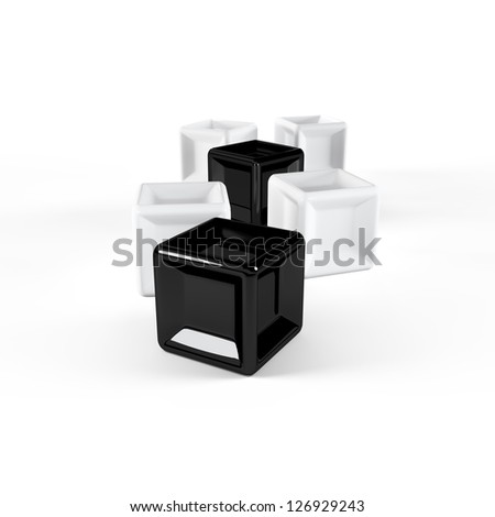 3d black and white cubes isolated on white - stock photo