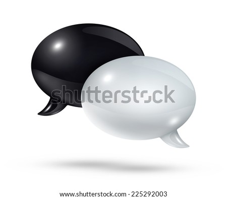 3D black and white speech bubbles isolated on white - stock photo