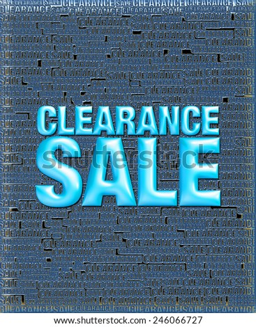 3D black blue background of Clearance Sale with emboss blue text on background   - stock photo