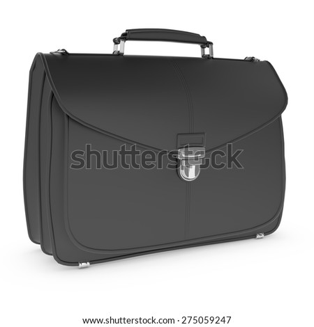 3d black briefcase isolated over white background   - stock photo