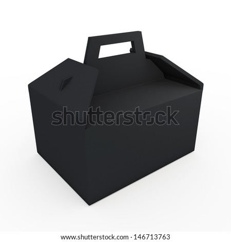 3d black carton packaging handle box for heavy products with handle in isolated background with clipping paths, work paths included  - stock photo