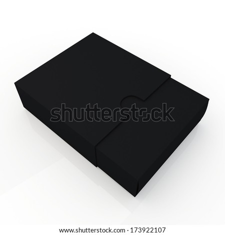 3d black container for products blank template and cut edge for sliding option in isolated background with work paths, clipping paths included  - stock photo