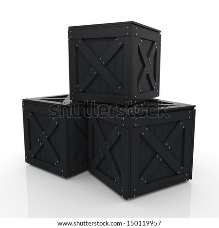 3d black crates, wooden boxes, wood boxes in isolated background with clipping paths, work paths included  - stock photo