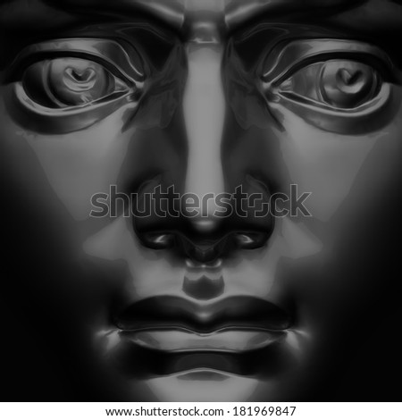 3d black David sculpture face, macro portrait - stock photo