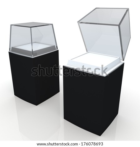 3d black label, white base and transparent acrylic box packaging blank template in isolated with clipping paths, work paths included  - stock photo