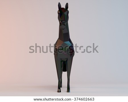 3D black low poly (horse) inside a white stage with high render quality to be used as a logo, medal, symbol, shape, emblem, icon, children story, or any other use. - stock photo