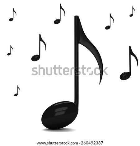 3d black music notes - stock photo