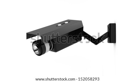3d black security camera on white background - stock photo