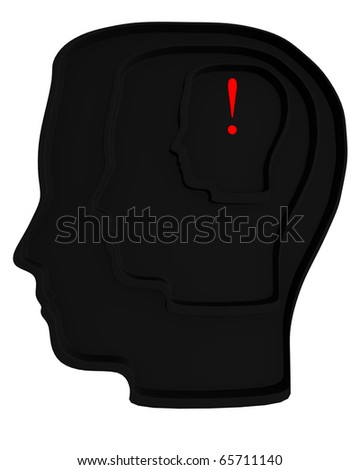 3d black silhouette of a head, a labyrinth, with an exclamation marks in it. - stock photo